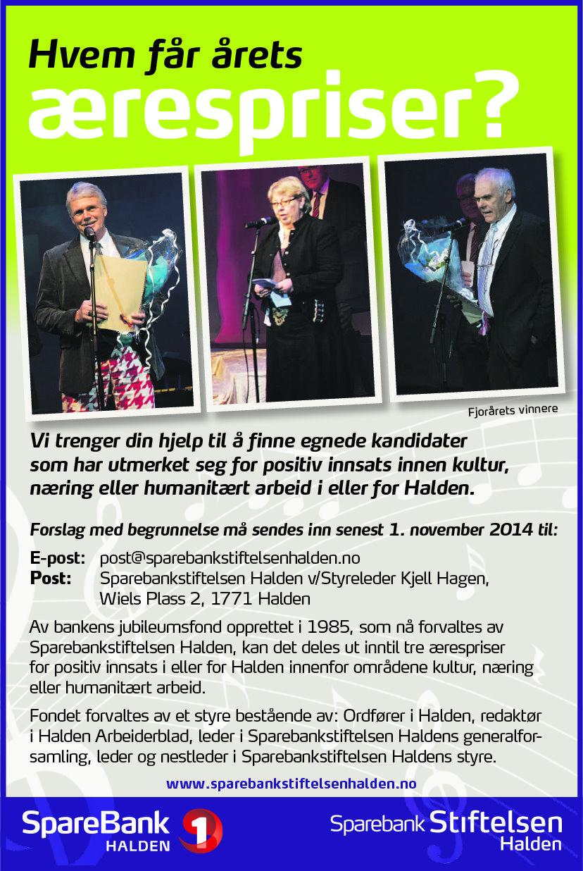 Sparebankstiftelsen Halden - Årets ærespris
